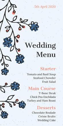 blue branches wedding menu Menu de casamento