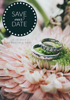 Floral Save the Date Wedding Invitation Card with Wedding Rings Save the date-kaart