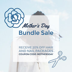 Blue Square Mothers Day Beauty Salon Sale Ad with Coupon Code Nail Salon
