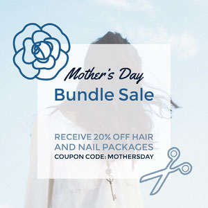 Blue Square Mothers Day Beauty Salon Sale Ad with Coupon Code Coupon