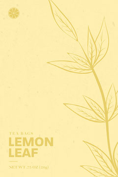 Yellow, Light Toned, Tea Bags Packaging, Label Leaf