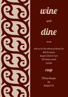 Brown Rehearsal Dinner Invitation Card Pattern Design