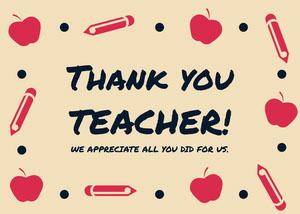 Orange Beige and Black Thank You Card Teacher Appreciation Messages