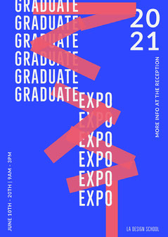 Blue, Red and White Graphic Typography Graduate Expo Flyer Typography