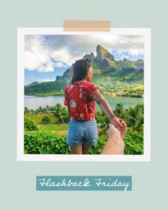 Polaroid Travel Memories Photo Collage Teal