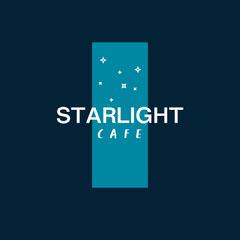Blue & White Simple Stars on Banner Cafe Logo Square Stars