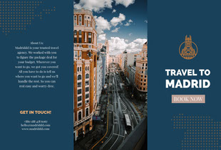Navy Blue Madrid Travel Brochure Folleto