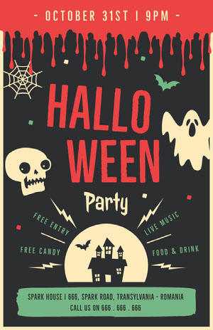 Red and Black Illustrated Halloween Party Flyer Prospectus de fête