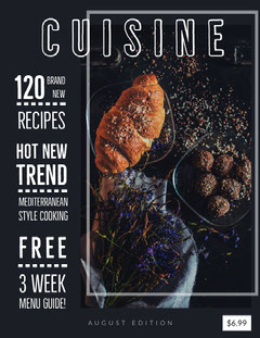 Black and White, Dark Toned, Cooking Magazine Cover Guide
