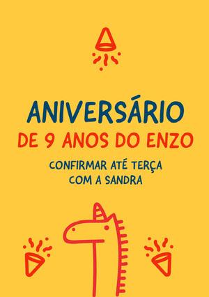 boys unicorn birthday cards  Convite de aniversário de unicórnio
