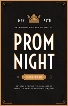 Black and Brown Art Deco Prom Night Flyer Back to School