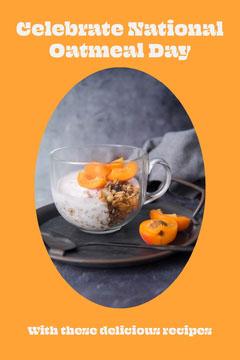 Orange National Oatmeal Day Pinterest Post Celebration