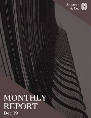 Dark Brown Skyscraper Monthly Business Report Relatório
