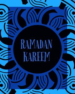 Black and Blue Ramadan Kareem Social Post Religion