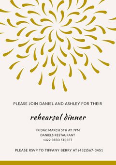 Gold Rehearsal Dinner Invitation Card Gold