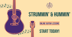 Yellow Illustrated Online Guitar Lessons Facebook Ad Music Lessons Flyer