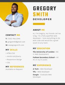 Yellow And Grey Web Developer Resume 101 Templates - Aspiring Communicator