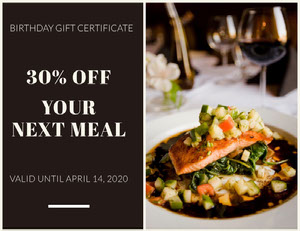 Restaurant Birthday Discount Coupon with Gourmet Meal Photo Bon