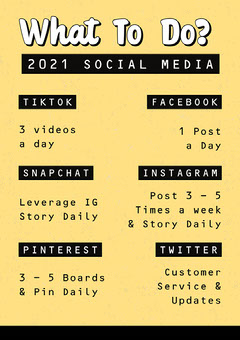 Black and Yellow What to Do Social Media A4 Worksheet Pinterest