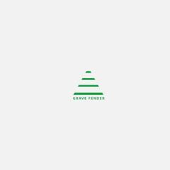 Green Striped Triangle Gamer Logo Grey