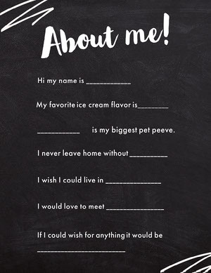 Chalkboard All About Me Worksheet Tarjetas de Datos Personales
