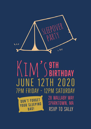 Navy Blue Red and Yellow Girl's Birthday Party Invitation Sleepover Invitation