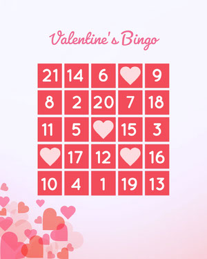 Pink and White Floating Hearts Valentines Bingo  Spillekort