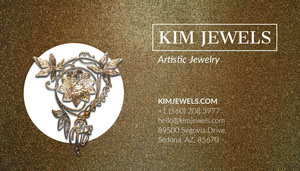 Gold Jeweler Store Business Card with Brooch Tarjeta de visita