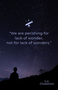 """We are perishing for lack of wonder, <BR>not for lack of wonders."" Space"