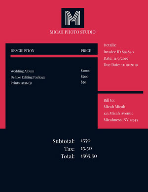 Black and Red Photo Studio Invoice Factuur