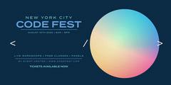 Rainbow Gradient Circle Code Fest Eventbrite Banner Rainbow
