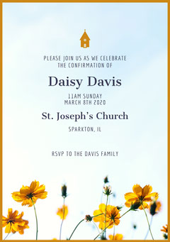 Yellow and White Confirmation Invitation Religion