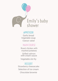 White, Grey, Blue and Pink Baby Shower Party Menu doccia per bambini