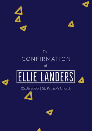 Blue, Yellow and White Confirmation Invitation  Confirmation Annoucement