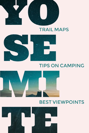 Blue and White Yosemite Travel and Tourism Pinterest Graphic Camping Poster