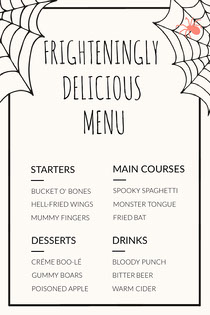 Spider and Cobweb Halloween Party Menu Scary