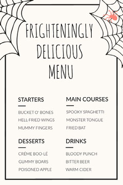 Spider and Cobweb Halloween Party Menu Halloween Party Menu