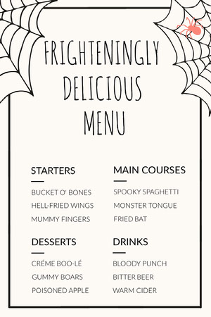 Spider and Cobweb Halloween Party Menu Halloween Party