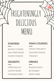 Spooky Costume Party Halloween Menu Halloween Party