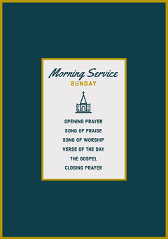 Blue and Gold Morning Service Church Program Flyer Christianity