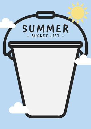 Blue, White and Yellow, Sunny Summer, Bucket List, Worsheet Worksheet