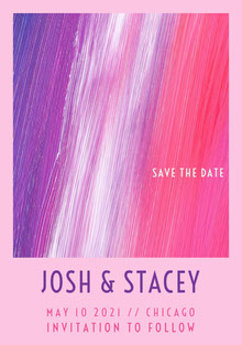 Pink and Violet Save The Date Card Wedding Invitation