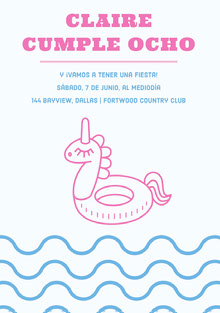 pool party unicorn birthday cards  Tarjeta de cumpleaños