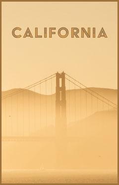 Yellow California Golden Gate Bridge poster California