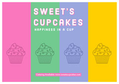 Multicolored Bakery Ad with Cupcakes Catering