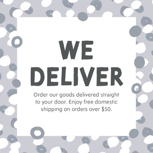 Gray Pattern Border Delivery Service Instagram Square Ad COVID-19 Re-opening