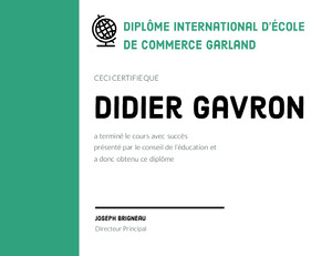 Didier Gavron  Certificat de diplôme