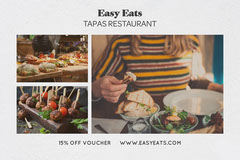 White Background with Tapas Collage Postcard Restaurants