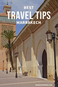 Marrakesh Morocco Travel Advice Pinterest Ad with Arabic Architecture Travel Agency