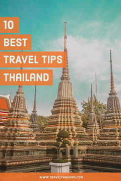 Orange and Blue Thailand Travel and Tourism Pinterest Graphic with Temple Travel Agency